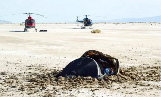 A flying saucer crash-landed in the Utah desert. The saucer turned out to be the Genesis sample return capsule, part of a human-made robot Genesis spaceship launched in 2001 by NASA itself to study the sun and the photo was posted on Nov. 4, 2018. (USAF 388th Range Sqd., Genesis Mission, NASA)