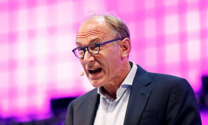 World Wide Web inventor Sir Tim Berners-Lee speaks during the inauguration of Web Summit, Europe's biggest tech conference, in Lisbon, Portugal, on Nov. 5, 2018. (Reuters/Pedro Nunes)