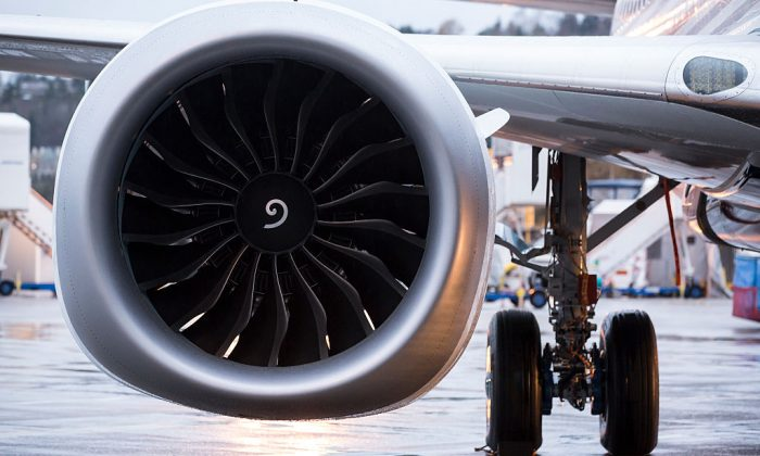 A LEAP engine is pictured on the first Boeing 737 MAX  airliner is pictured at the company's manufacturing plant in Renton, Washington on Dec. 8, 2015. The plane is the newest, most fuel efficient version of Boeing's best-selling plane. (Stephen Brashear/Getty Images)