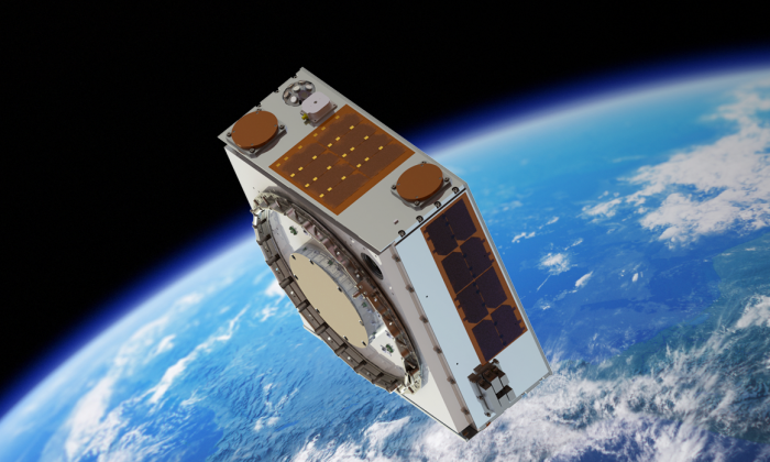 A conceptual image of Target, which is part of an apparatus developed by Astroscale for space debris removal. (Courtesy of Surrey Satellite Technology Ltd.)