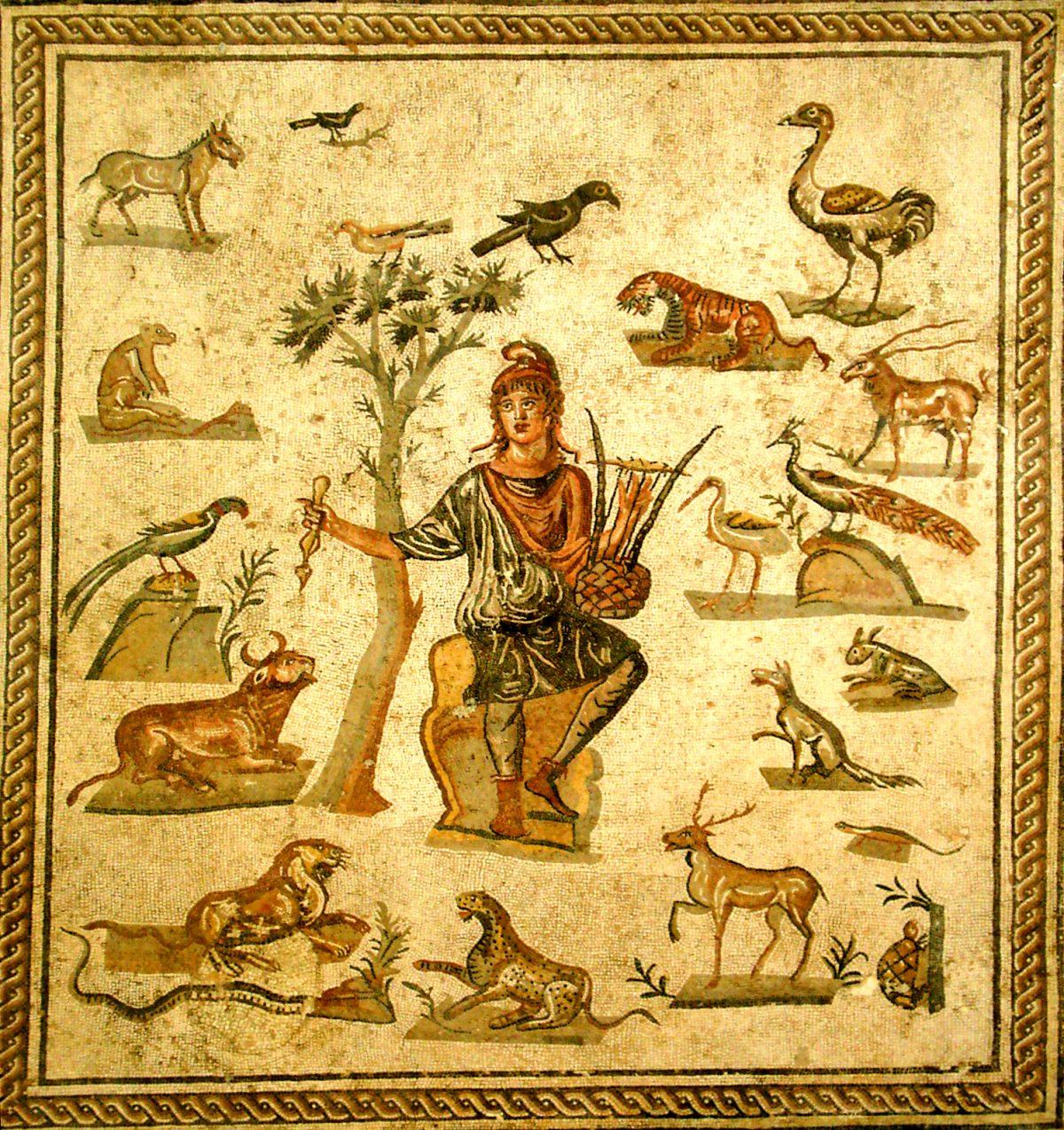 Ancient Roman floor mosaic of Orpheus
