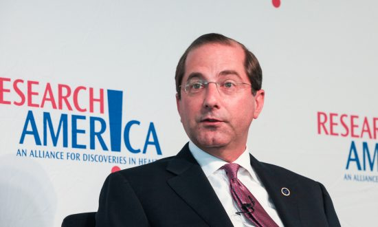 Secretary of Health and Human Services Alex Azar speaks at the Research!America, National Health Research Forum, in Washington, on Sept. 6, 2018. (Holly Kellum/NTD)