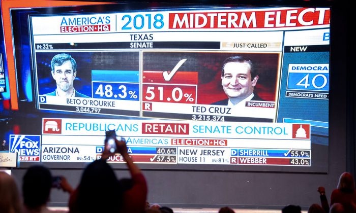 Fox News announces U.S. Sen. Ted Cruz, R-Texas, as the winner over challenger Rep. Beto O'Rourke, D-Texas, during the Dallas County Republican Party election night watch party on Nov. 6, 2018 at The Statler Hotel in Dallas. (AP/Jeffrey McWhorter)