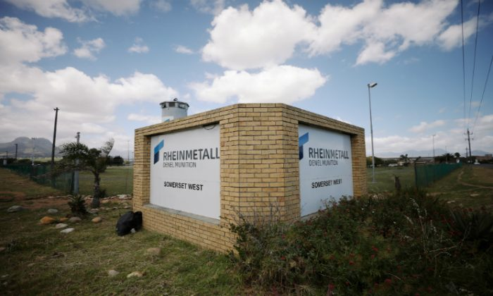 A corporate logo is seen outside the Rheinmetall Denel munitons plant near Cape Town, South Africa, on Nov. 6, 2018. (Mike Hutchings/Reuters)