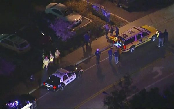 police vehicles at the scene of the Thousand Oaks mass shooting