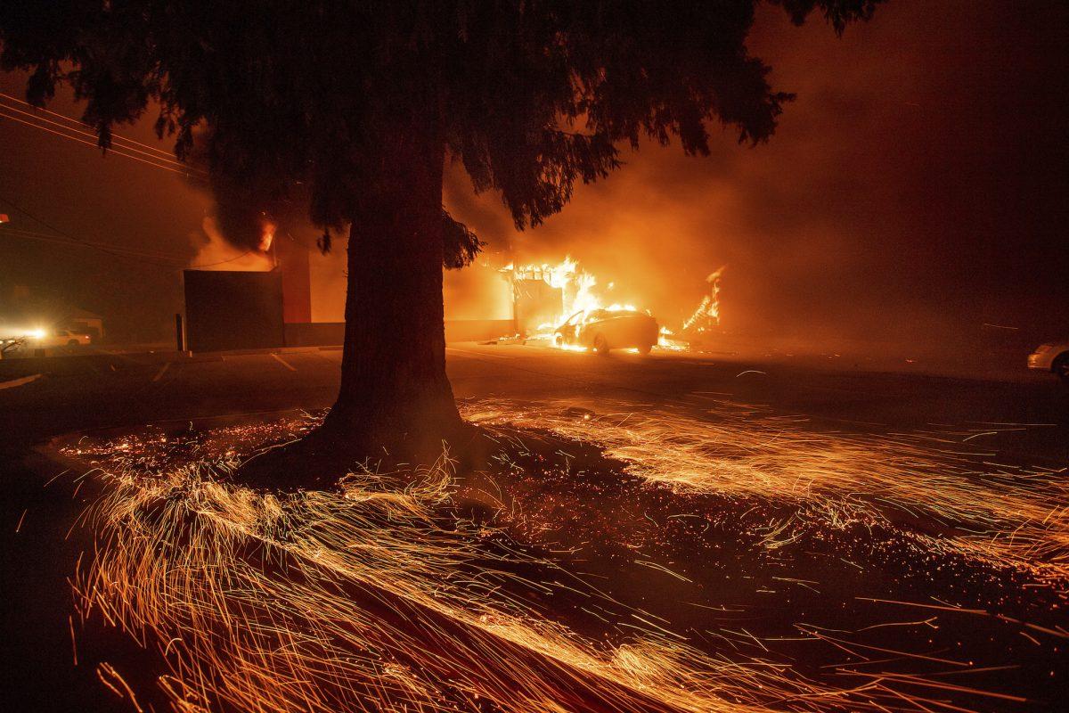 flames consume a KFC restaurant