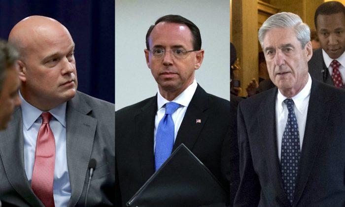 (L-R) Acting Attorney General Matt Whitaker; Deputy Attorney General Rod Rosenstein; Special Counsel Robert Mueller. (Getty Images)