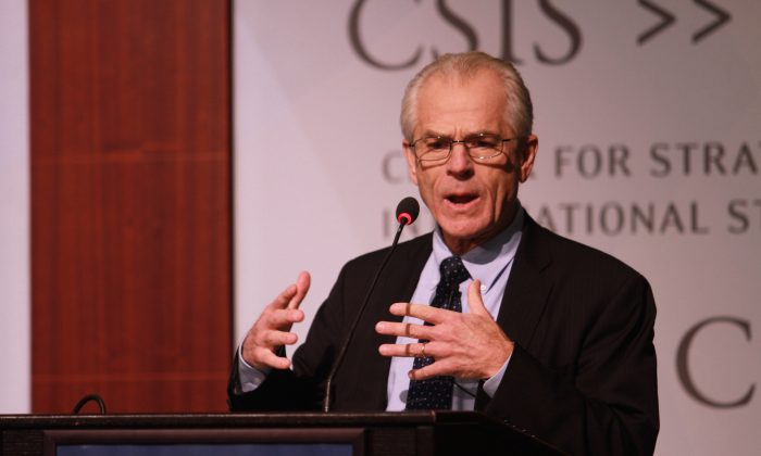 Assistant to the President and Director of the White House Office of Trade and Manufacturing Policy Peter Navarro speaks at the Center for the Strategic and International Studies (CSIS) in Washington on Nov. 9, 2018. (Courtesy of CSIS)