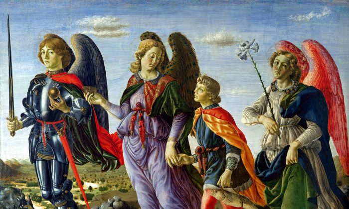 "Michael, on the left, with the archangels Raphael and Gabriel. ""The Three Archangels and Tobias,"" 1470, by Francesco Botticini. (Public Domain)"