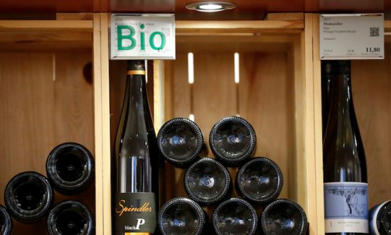 Organic wines for sales are seen in a wine rack at Moevenpick Weinkeller wine shop in Berlin, Germany, Oct. 15, 2018.   (Reuters/Fabrizio Bensch)