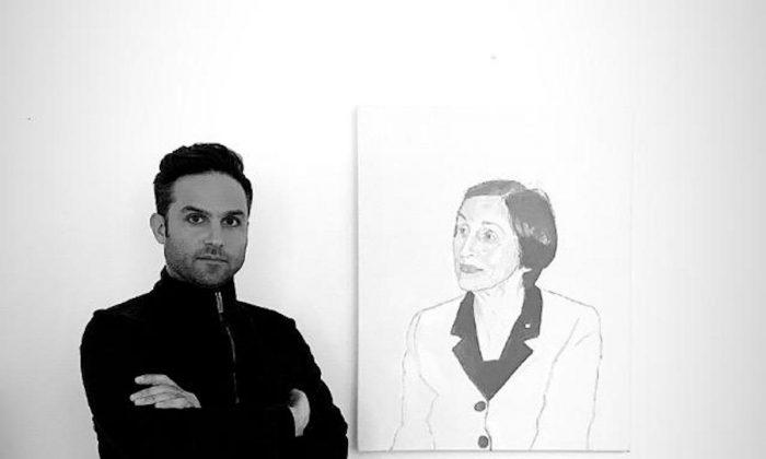 Tyler Loftis with a first draft of a Françoise Gilot portrait. (Courtesy of Tyler Loftis)