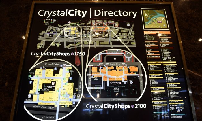 A view of a directory of Crystal City, Va., on Nov. 13, 2018. (Susan Walsh/AP Photo)