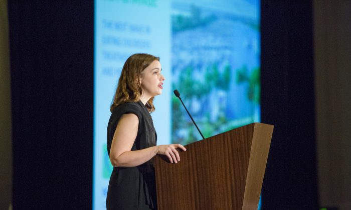 Claire Mysko speaking at a National Eating Disorders Association Conference. (Courtesy of the National Eating Disorder Association)