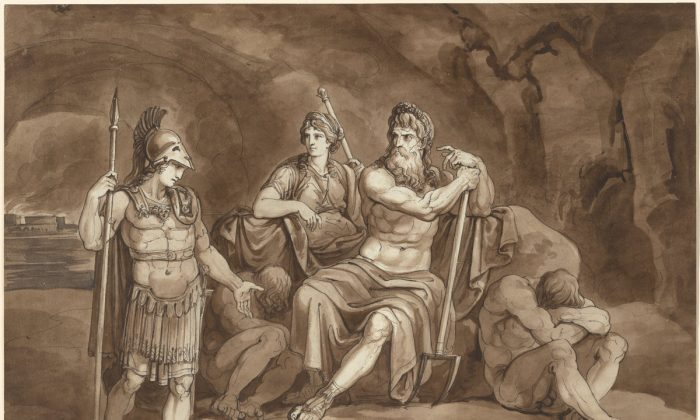 "Bartolomeo Pinelli (1781–1835), ""Telemachus Requests Permission from Pluto to Seek His Father in the Underworld,"" 1809, pen and brown ink with brown and gray wash over graphite on heavy laid paper. (William B. O'Neal Fund/National Gallery of Art)"