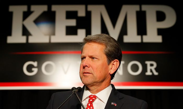 Republican gubernatorial candidate Brian Kemp attends the Election Night event at the Classic Center in Athens, Ga., on Nov. 6, 2018. (Kevin C. Cox/Getty Images)