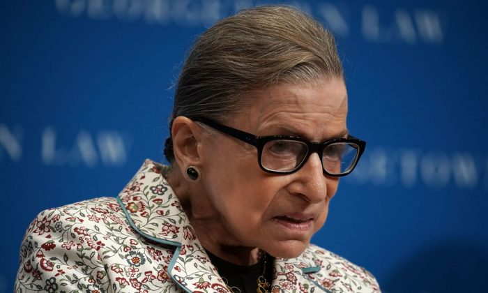 Supreme Court Justice Ruth Bader Ginsburg participates in a lecture at Georgetown University Law Center in Washington on Sept. 26, 2018. (Alex Wong/Getty Images)