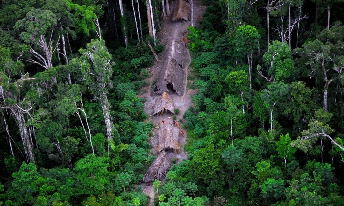 An isolated tribe spotted in the Brazilian Amazon. (Courtesy of National Indigenous Foundation—Funai)