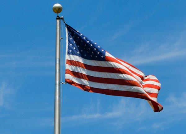 American flag flies in Middletown