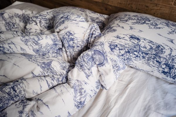 blue printed pillows and blanket