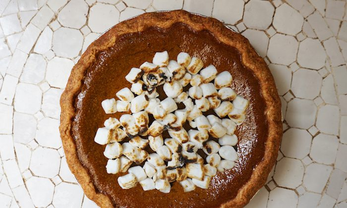 Top your pumpkin pie with coconut whipped cream or toasted vegan marshmallows. (Courtesy of by CHLOE)