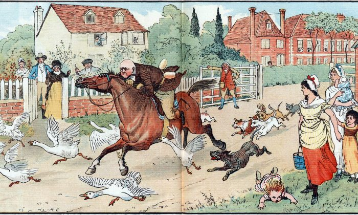 """An illustration for William Cowper's delightful poem """"The Diverting History of John Gilpin,"""" 1886, by Randolph Caldecott. (Public Domain)"""