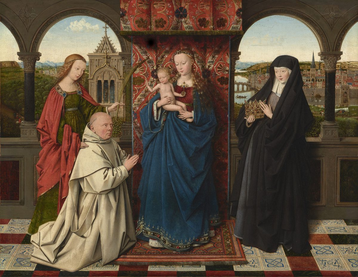 """""""The Virgin and Child with St. Barbara, St. Elizabeth, and Jan Vos,"""" circa 1441–43, by Jan van Eyck and Workshop. Oil on panel, 18 5/8 inches by 24 1/8 inches, The Frick Collection (Michael Bodycomb)"""