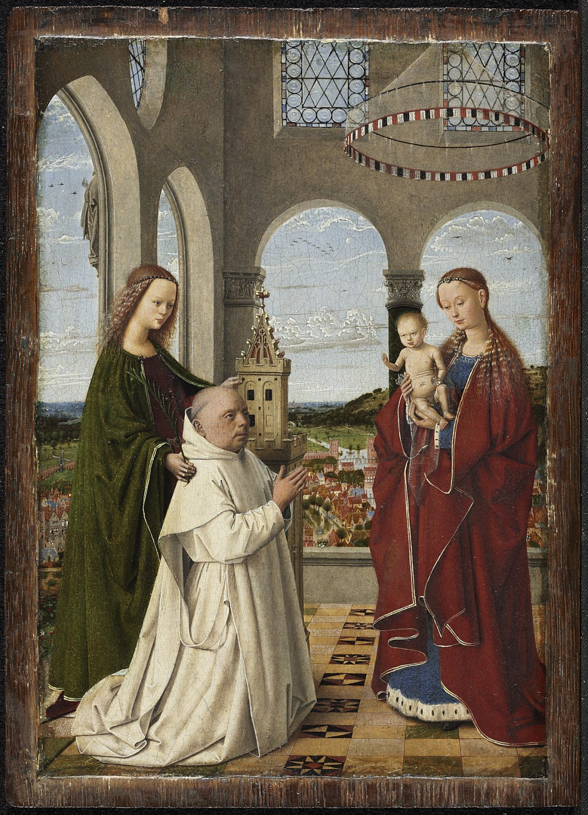 """""""The Virgin and Child with St. Barbara and Jan Vos (known as the Exeter Virgin),"""" circa 1450, by Petrus Christus. Oil on panel, 7 5/8 inches by 5 ½ inches, Staatliche Museen zu Berlin, Gemäldegalerie. (Courtesy of The Frick Collection)"""