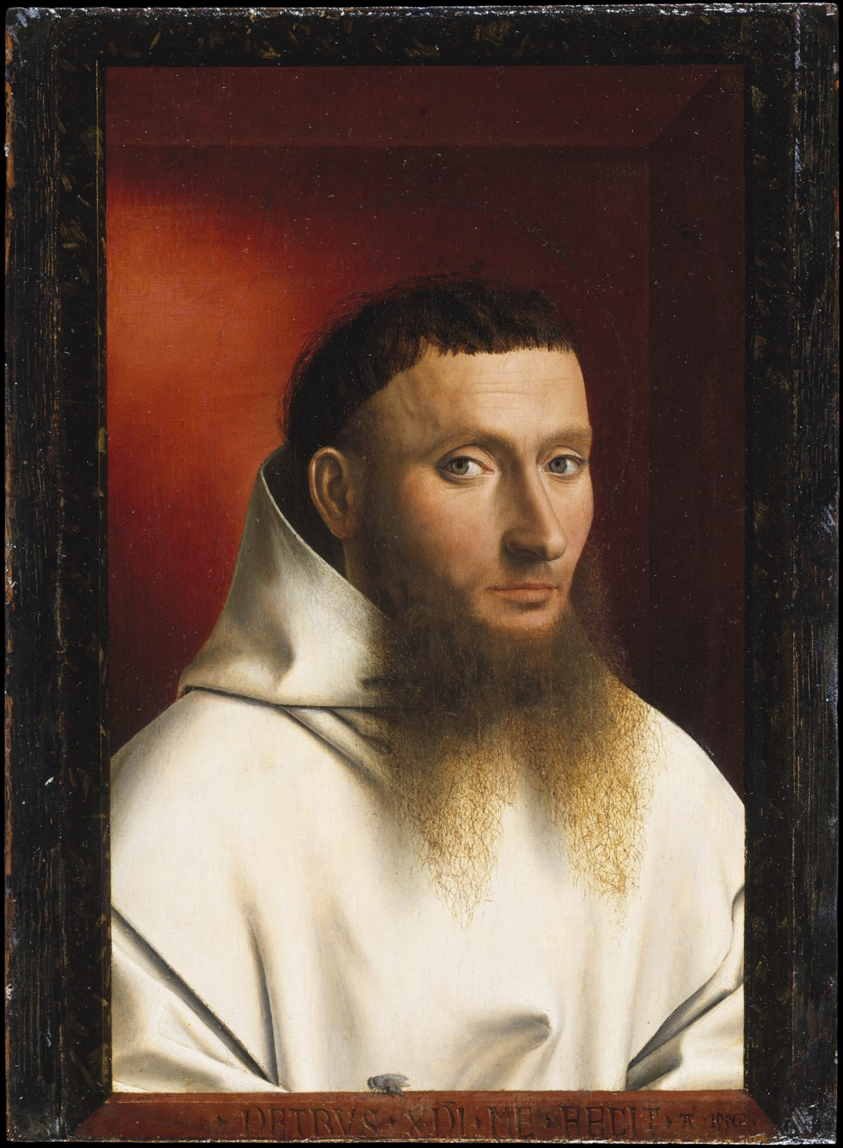 """""""Portrait of a Carthusian Lay Brother,"""" 1446, by Petrus Christus. Oil on wood, 11 1/2 inches by 8 1/2 inches, The Jules Bache Collection, The Metropolitan Museum of Art. (Courtesy of The Frick Collection)"""