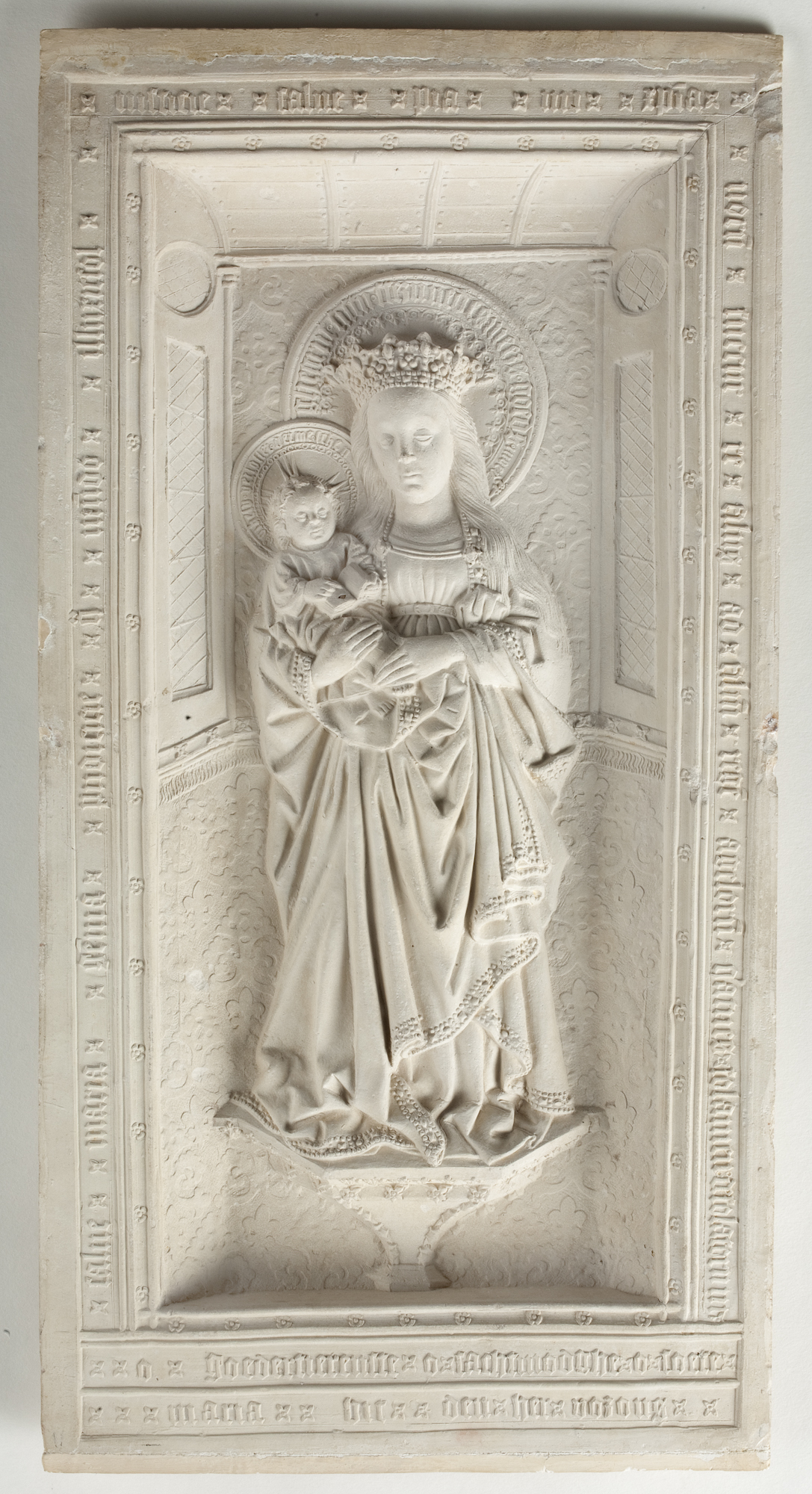 """""""Relief with the Virgin and Child (The Virgin of Zoeterwoude),"""" 2nd half of 15th century, by Unknown artist from Utrecht. Pipe clay, 16 13/16 inches by 8 11/16 inches by 1 inch, Museum Catharijneconvent. (Courtesy of The Frick Collection)"""