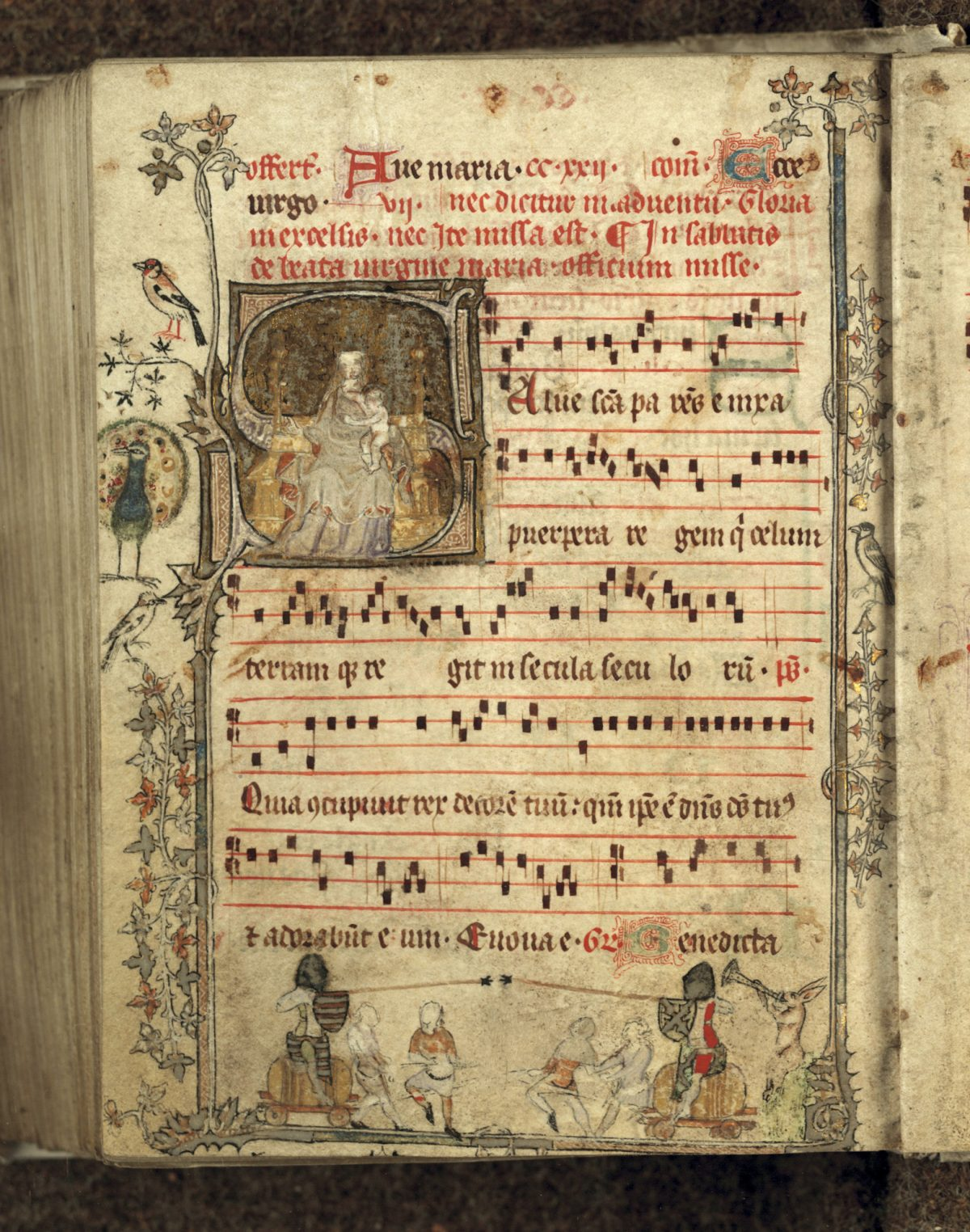 """""""Gradual (song book formerly at Genadedal),"""" 14th century, by Unknown artist from Low Countries. Manuscript, 6 5/16 inches by 4 3/4 inches, Bibliothèque municipale, Douai. (Courtesy of The Frick Collection)"""