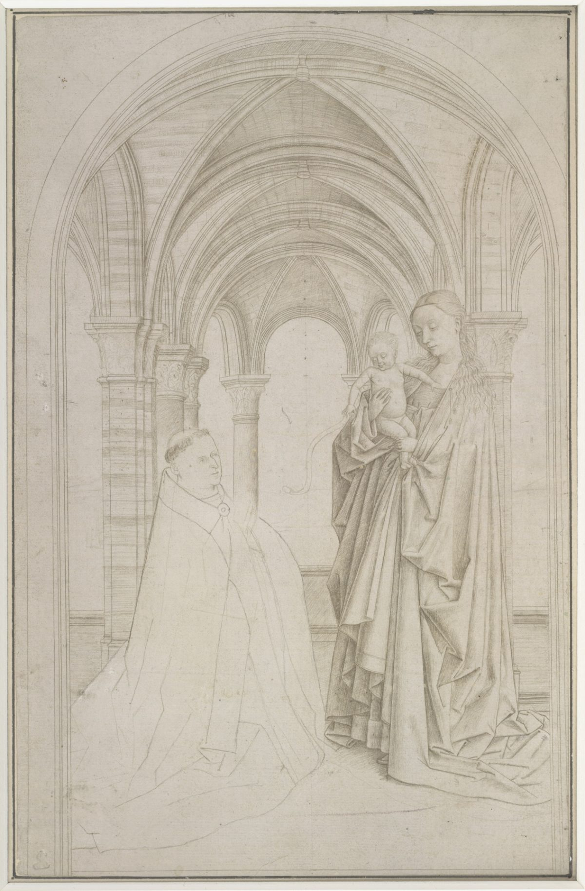 """""""The Virgin and Child with a Donor (copy after Jan van Eyck's Maelbeke Virgin),"""" Attributed to Petrus Christus. Silverpoint on prepared paper, 10 15/16 inches by 7 1/16 inches, The Albertina Museum, Vienna. (Courtesy of The Frick Collection)"""