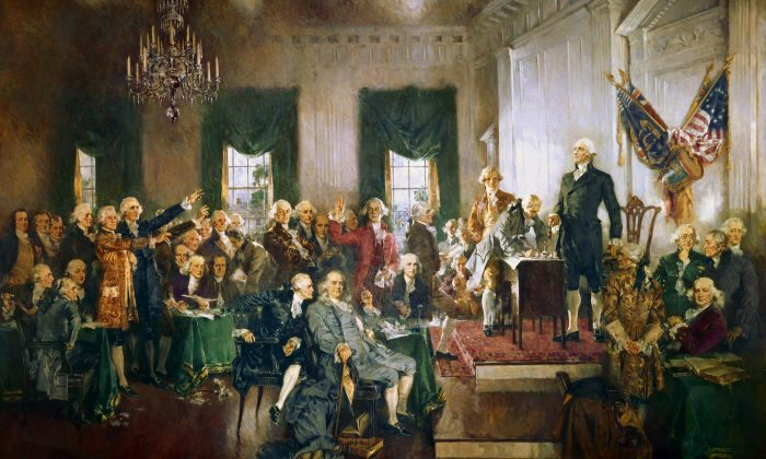"""""""The Signing of the Constitution of the United States"""" by Howard Chandler Christy (1872–1952). (Public Domain)"""