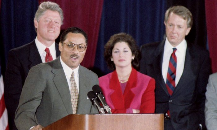Then Congressman Mike Espy accepts his nomination for Secretary of Agriculture on Dec. 24 1992 in Arkansas as then president-elect Bill Clinton listens. (HERB SWANSON/AFP/Getty Images)