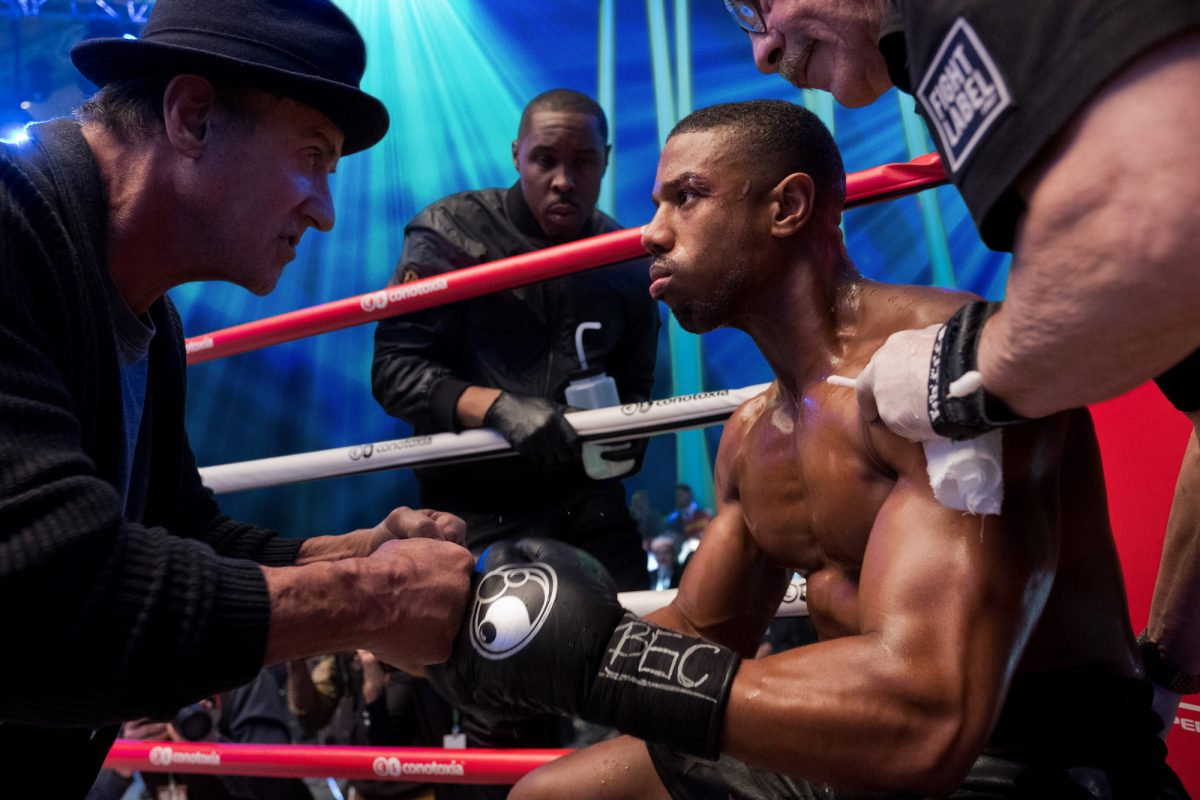Sylvester Stallone and Michael B. Jordan in the ring