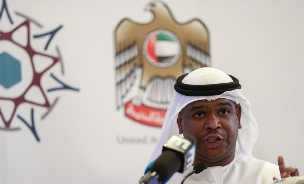 Jaber al-Lamki speaks during a press conference
