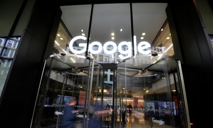The Google name is displayed outside the company's office in London on Nov. 1, 2018. (Toby Melville/Reuters)