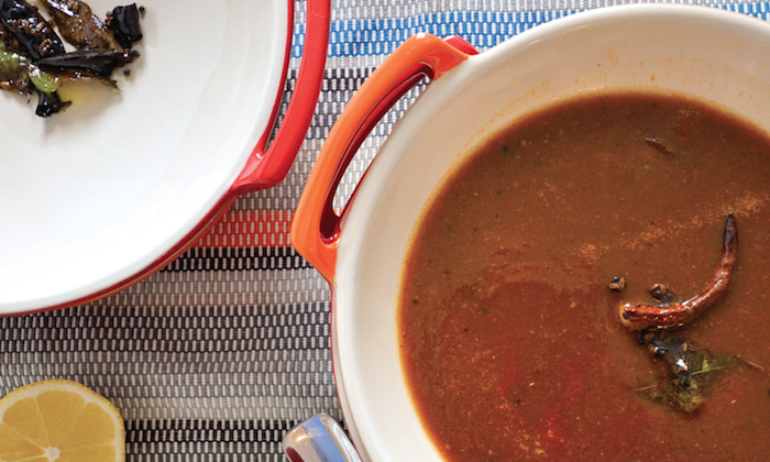 South Indian Tomato and Tamarind Soup With Pigeon Peas. (Katherine Rasmussen)