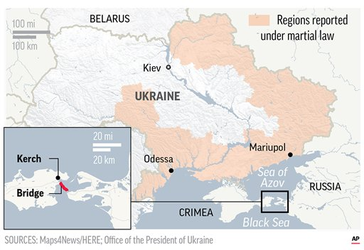 Ukrainian navy accuses Russia of seizing three ships after allegedly firing on them near Crimea