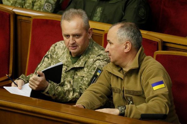 Head of Security Service of Ukraine, Vasyl Hrytsak (R) and Chief of the General Staff of Ukraine's armed forces, Viktor Muzhenk