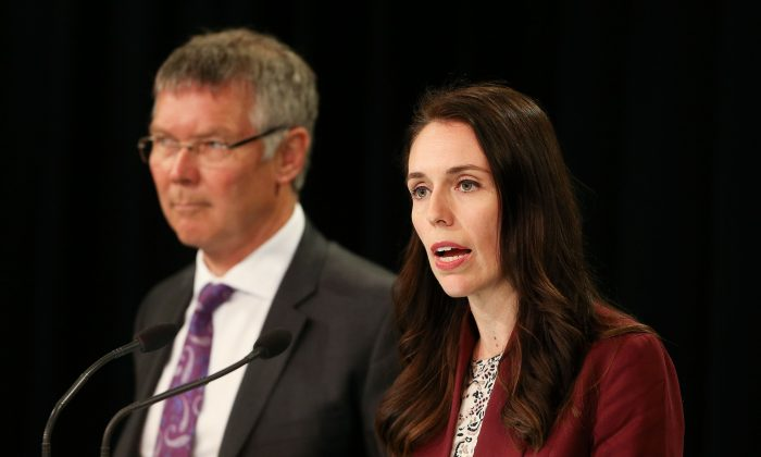 New Zealand Prime Minister speaks during a post cabinet press conference at Parliament in Wellington, New Zealand, on Oct. 31, 2017. Concerns over reduced academic freedom in universities has been sparked by threats against politics professor Anne-Marie Brady, for publishing a report critical of the Chinese Communist Party. (Hagen Hopkins/Getty Images)