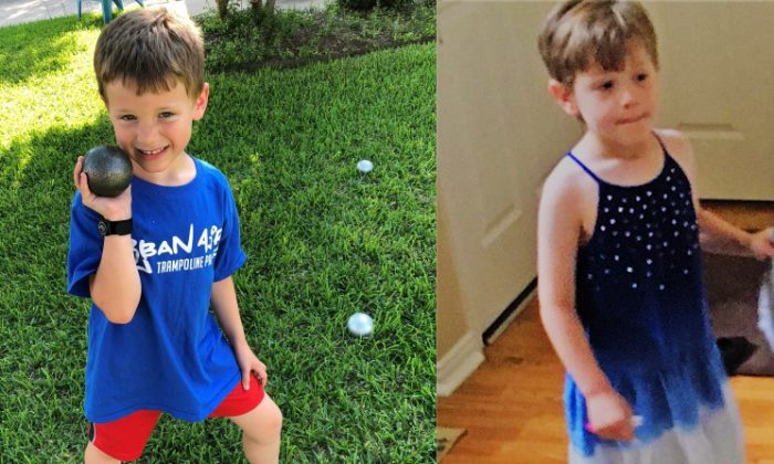 6-year-old James prefers to dress as a boy (left), but his mother allegedly makes him wear girl's clothing (right.) (SaveJames.com)