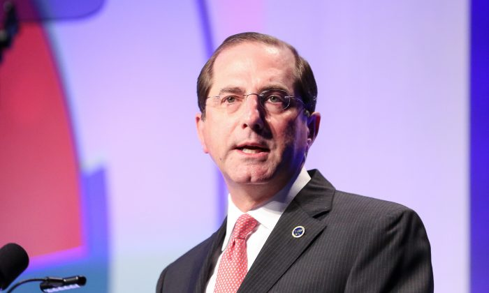"Secretary of Health and Human Services Alex Azar speaks at a caregiver for veterans conference ""Hidden Heroes Among Us"" in Washington on Nov. 26, 2018. (Holly Kellum/NTD)"