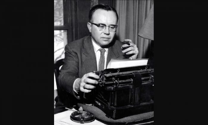 Political philosopher Russell A. Kirk at his typewriter in the 1950s. (Unknown author [Public domain], via Wikimedia Commons)