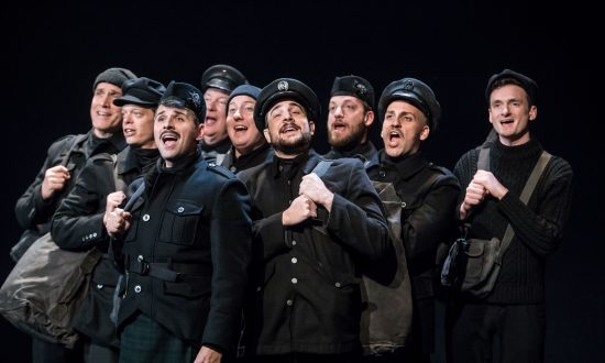 "Interspersed in the story are musical numbers, which include Christmas carols, patriotic hymns, medieval ballads, and other tunes of the day. The cast of ""All Is Calm: The Christmas Truce of 1914."" (Dan Norman)"