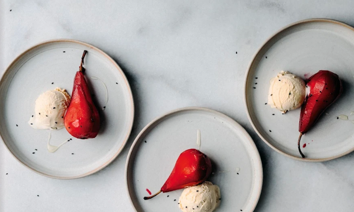 Ginger and Hibiscus Poached Pears with Ice Cream. (GoogleDrive)