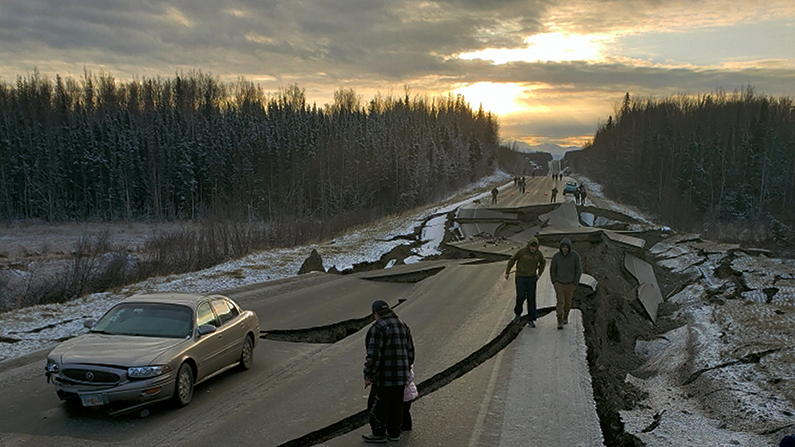 Alaska earthquake aftermath highway sunrise