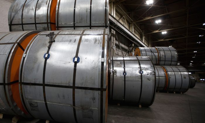 Coils of steel sit in storage in a port authority facility in Hamilton, Ontario, Canada, on March 9, 2018.   (Peter Power/Reuters)