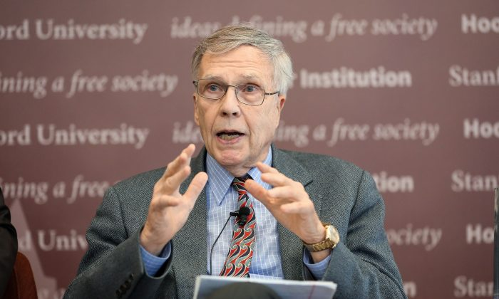 """Winston Lord, former Ambassador to China, speaks at the launch of the report """"Chinese Influence and American Interests: Promoting Constructive Vigilance"""" at the Hoover Institution in Washington on Nov. 29, 2018. (Jennifer Zeng/The Epoch Times)"""