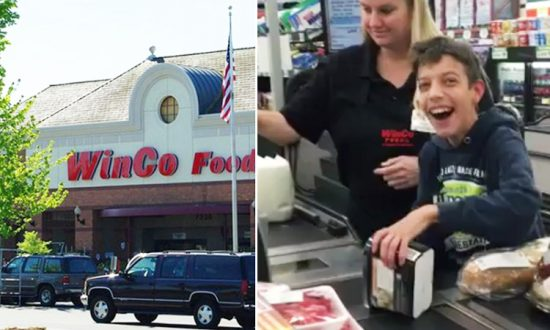 Cashier Shaylene lets Andy Robinson, 14, scan his mother's groceries at WinCo Foods in Temecula, California. (L: Wikimedia | M.O. Stevens, R: Instagram | jeanie_36)