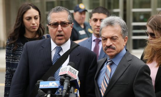 Legal Council representing Keith Raniere and the group NXIVM Mark Agnifilo and Paul DerOhannesian outside the United States Eastern District Court in Brooklyn, New York City, on May 4, 2018. (Jemal Countess/Getty Images)